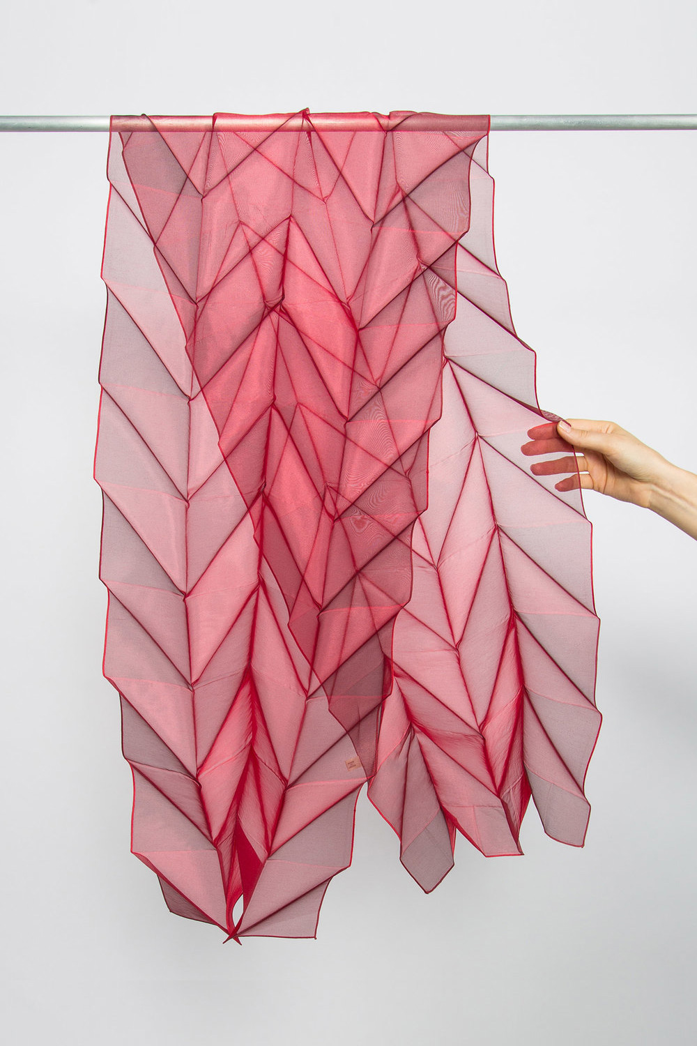 Nuno Origami Pleats Scarf in Red  $295