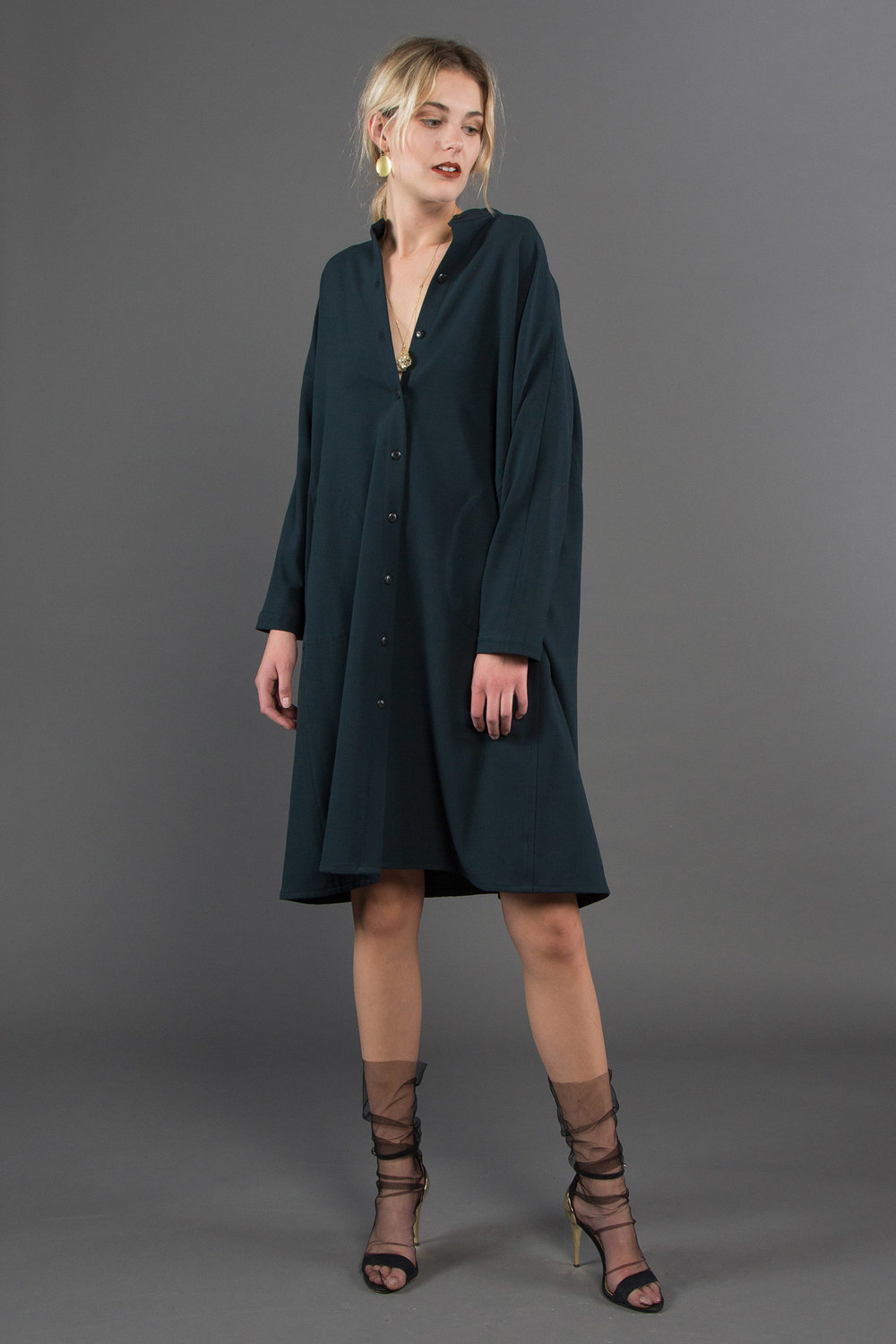Japan Dress in Dark Green Wool  $895