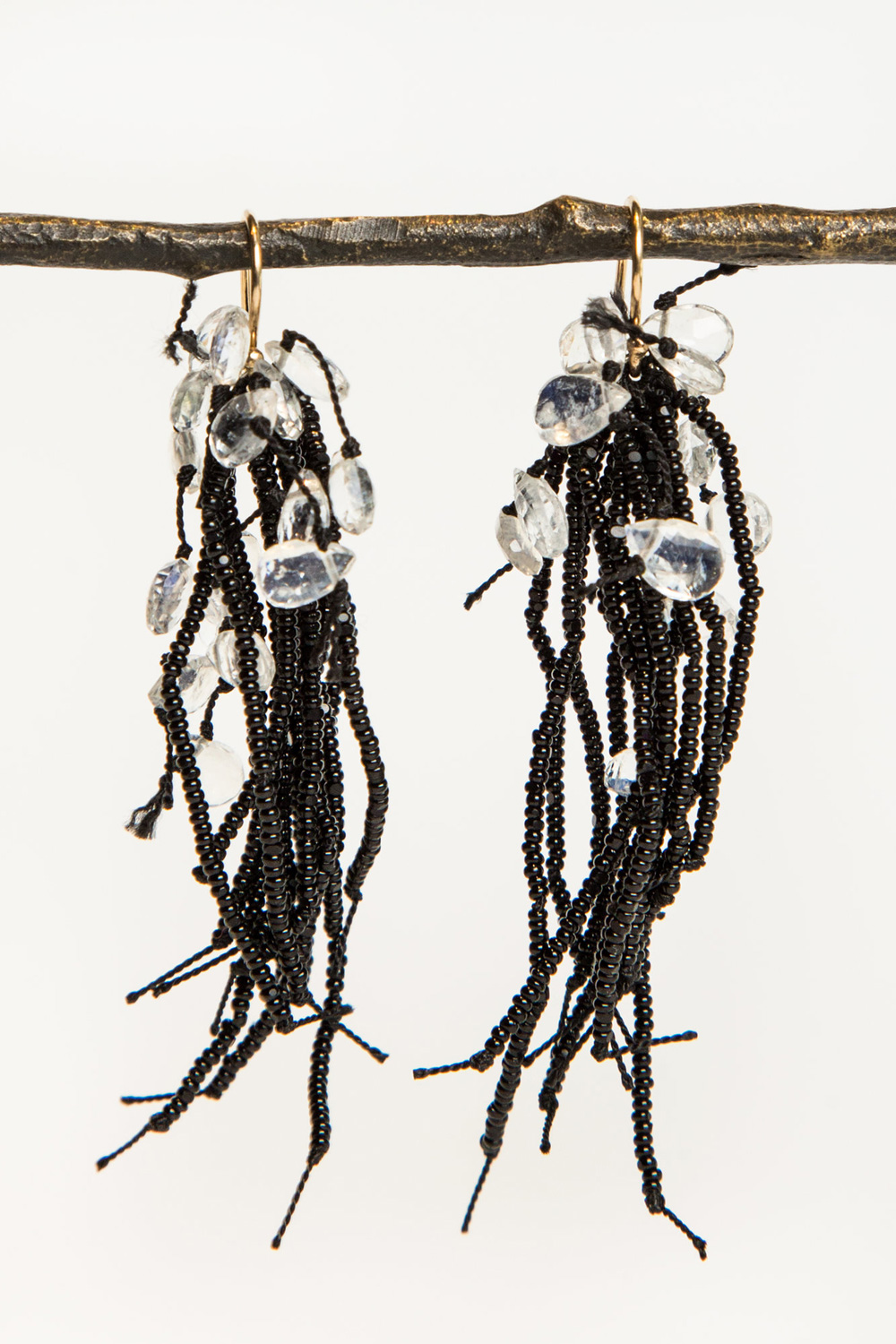 Turtle Forest Black 19th Century Black Glass and Labradorite Earrings  $395