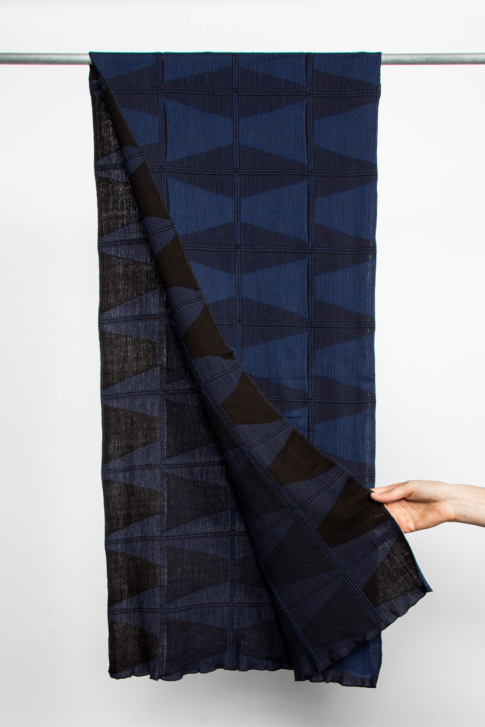 "Nuno Double-Faced Cotton Scarf in Blue ""Traffic Cones""  (SOLD OUT)"