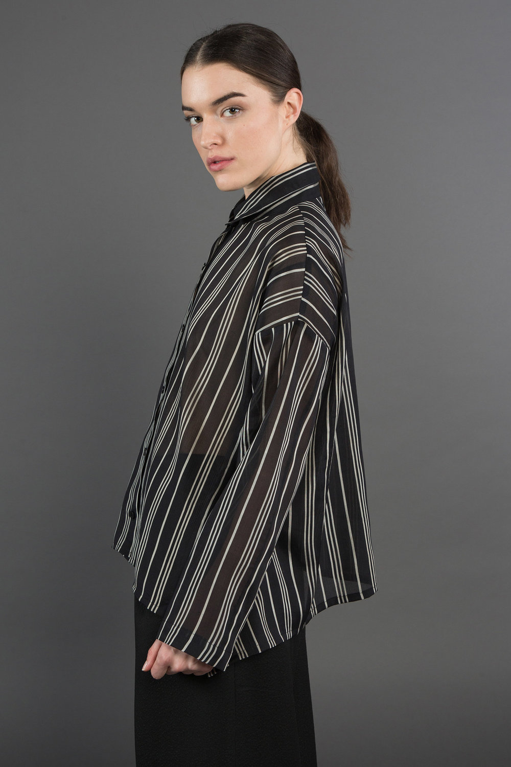 Beverly Shirt in Vintage Striped Silk  $1,295