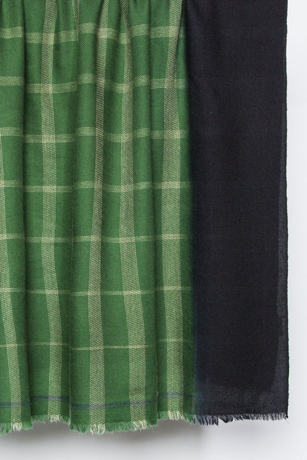 Moismont Square Wool Shawl in Green Grid with Black Dip-Dyed Ends  $120