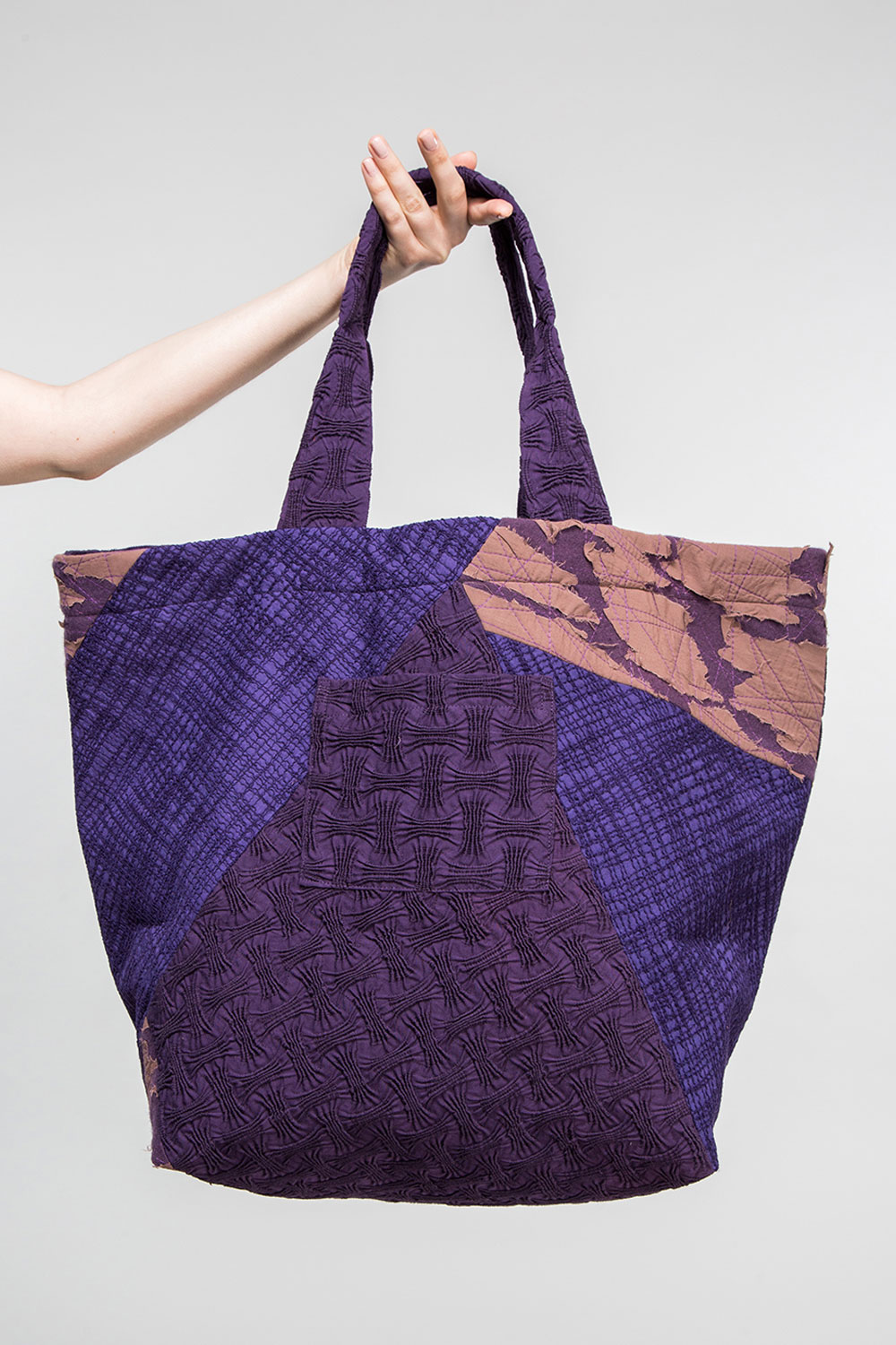 Big Bag in in a Patchwork of Nuno Purple/Tan Textiles  $495