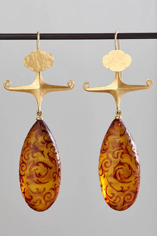Gabriella Kiss Carved Amber Earrings  $3,800