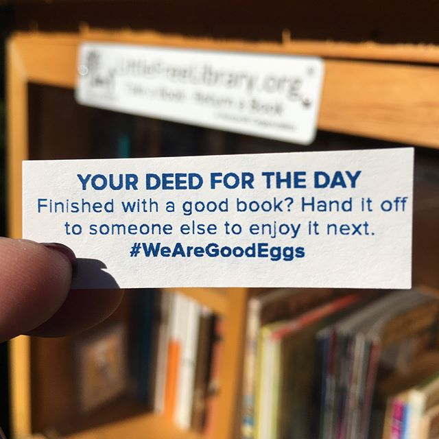 This Good Egg goes out to @littlefreelibrary - seen one around your neighborhood? Drop off a book! We're big fans. #WeAreGoodEggs