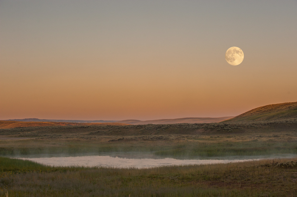 Moonrise over Hayden Valley