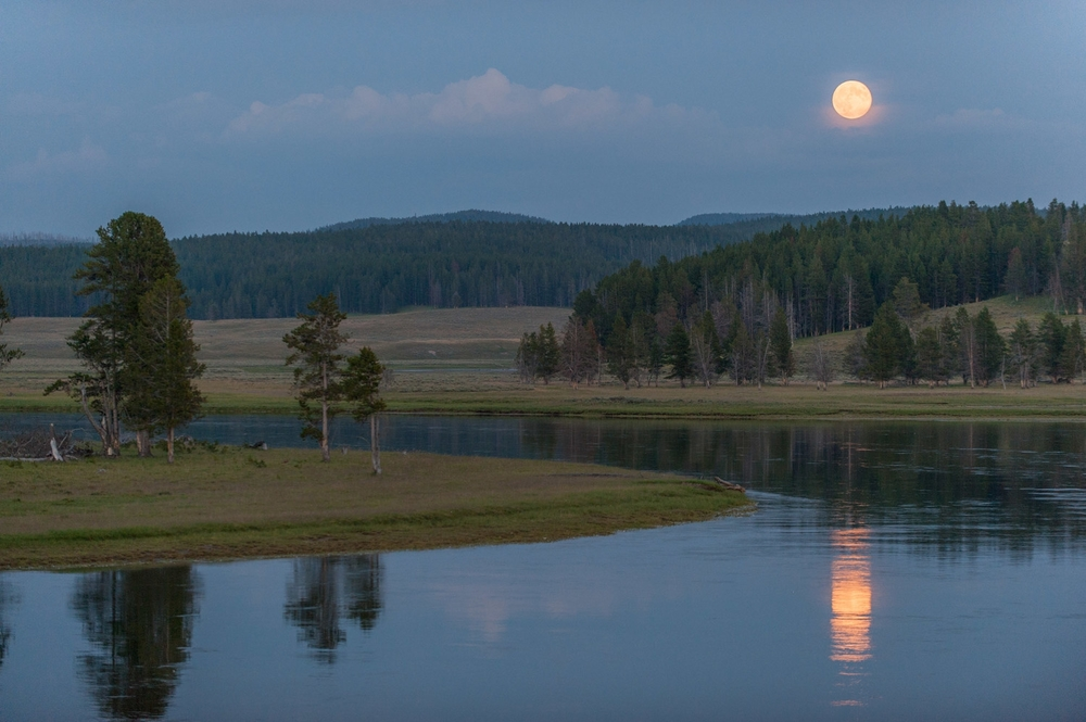 Moonrise over the Yellowstone River