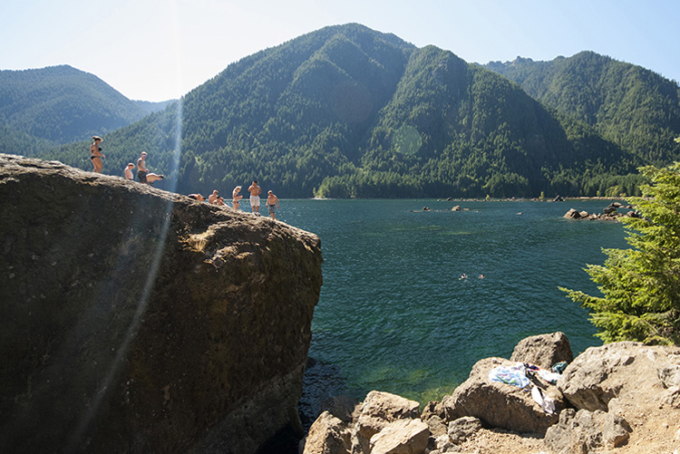 The Big Rock is one of the best-known cliff jumping spots in Washington, and it's wonderfully accessible. Photo by Tyson Gillard, Outdoor Project. For complete information on The Big Rock visit Outdoor Project.