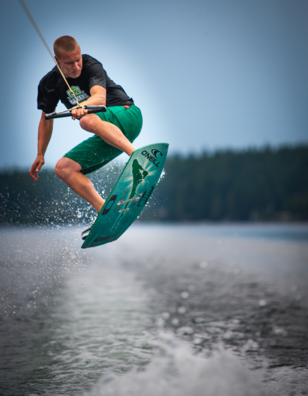 Mason Lake wakeskating with Aaron Huntley