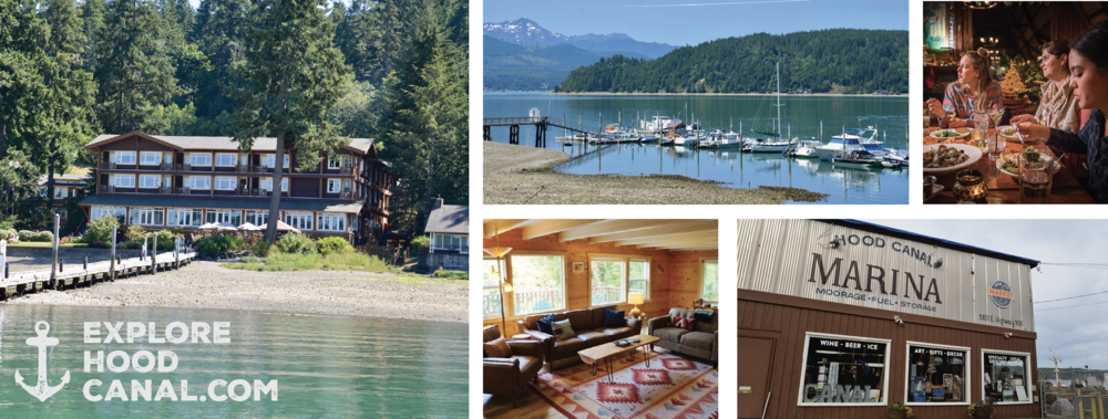 Alderbrook Resort , view from the dock (left); view from 2 Margaritas' patio seating (top middle);  Robin Hood Village Resort  onsite restaurant (top right);  Cedar Hill Cottage , Union (bottom middle);  Hood Canal Marina  & location of the  Canal Cookout  in Union (bottom right)