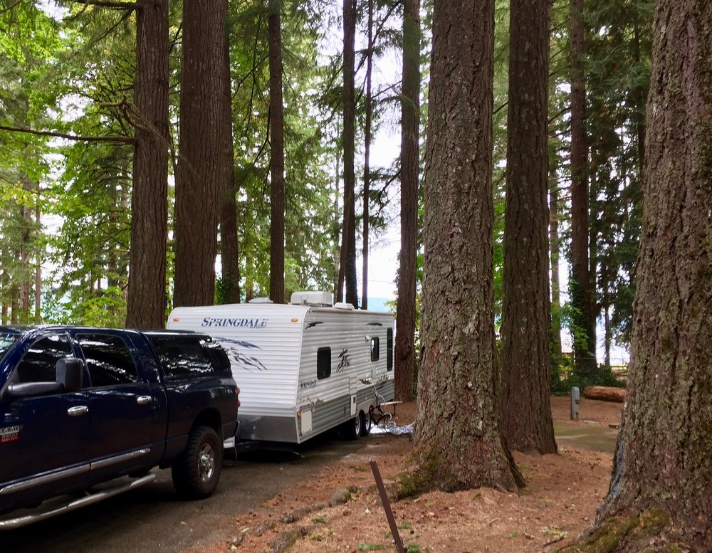 "Trailer camping is technically considered in the ""glamping"" category, above the waterfront view and tall trees at  Twanoh State Park , Hood Canal definitely set the standards  high."