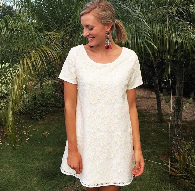 Laura in our baby doll Ivory lace dress
