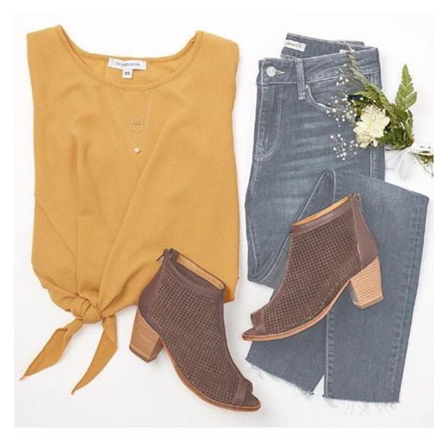 Complete your look with the perfect fall colors! Spotted @hautelook pairing our mustard tie top with denim! #vanityroom #madeinnyc #ootd