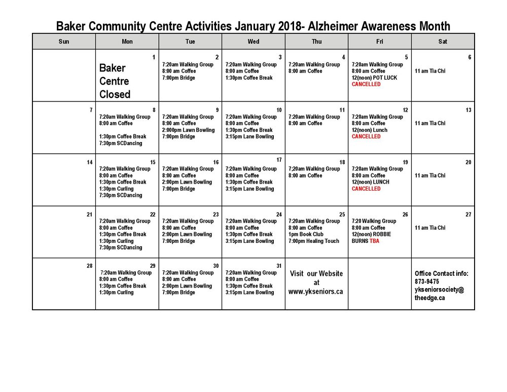 Jan 2018 Calendar Yellowknife Seniors Society