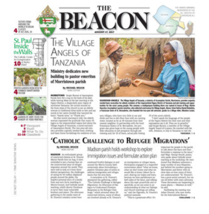 Image of the front page of the August 17, 2017 Beacon.
