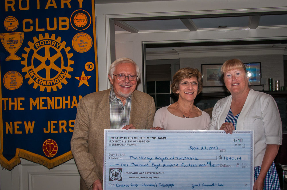 Sergio and Johann Burani with Mendham Rotary Club Member June Cioppettini, who spearheaded the Indiegogo Fundraiser.