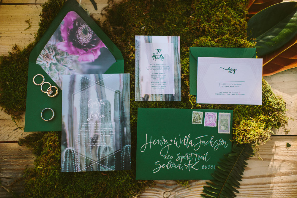 Sedona calligraphy, Invitations by Margaux Paperie, Photo by Jane in the Woods