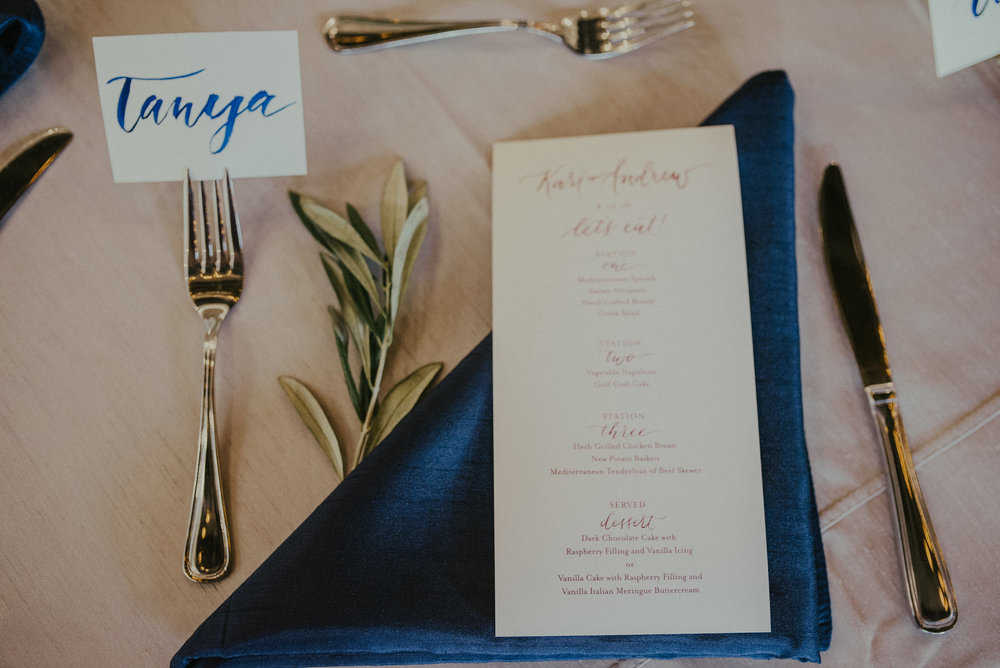 place card and menu