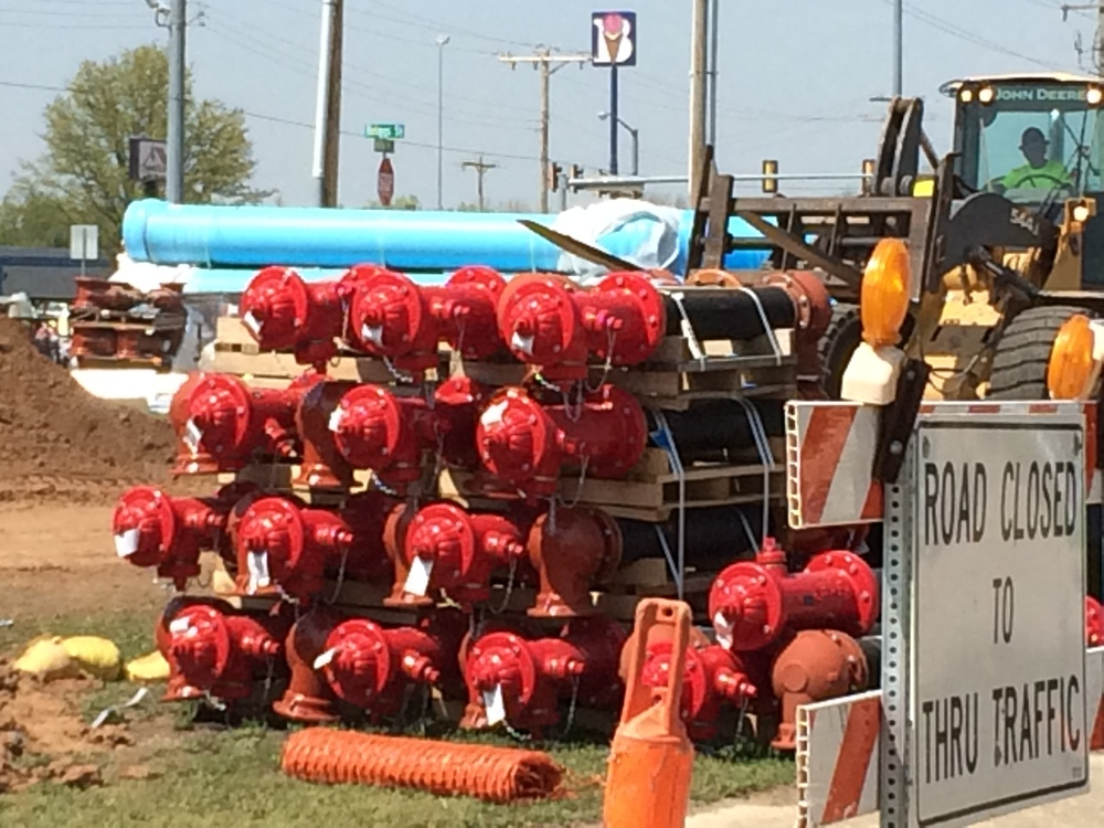 New fire hydrants awaiting their new home! (photo taken 4/7/15)