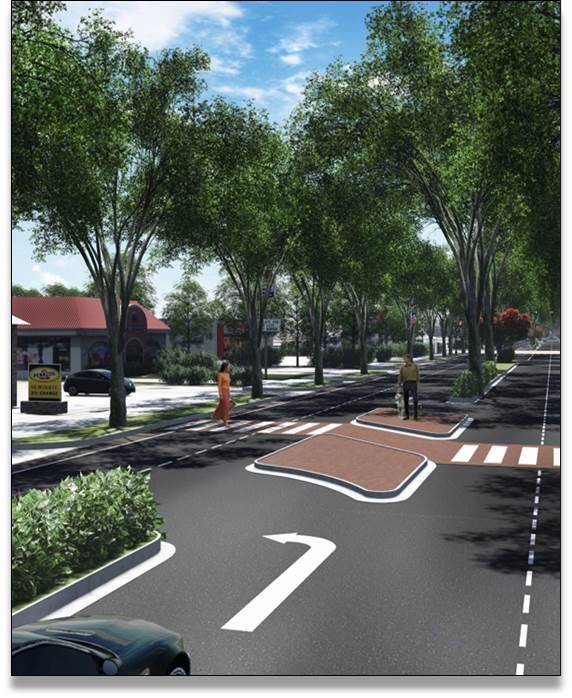 This rendering shows an example of the raised median, U-turn, and a mid-block cross walk.