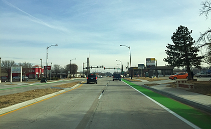 Cruise down the strip on Lindsey to check out the new street! Installation of landscaping and irrigation system began in March 2018 and is ongoing.