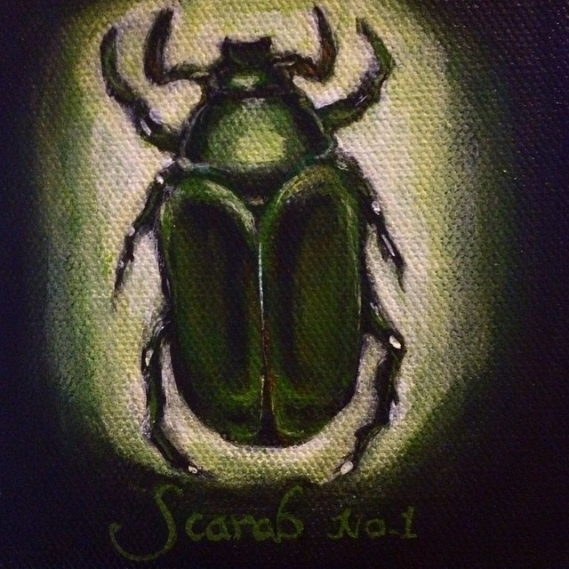 Watching LA Hockey and painting a scarab. Doesn't everyone? #painting #BeetlePainting #scarab