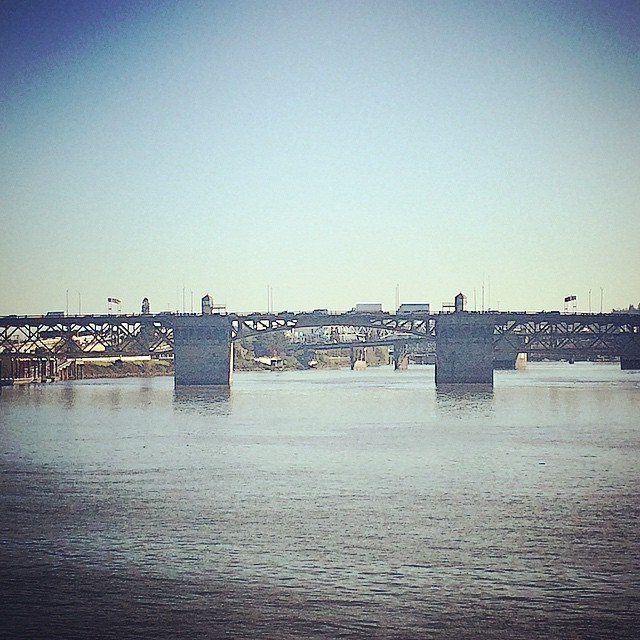 Running the river front. That's my bridge over there. Oh, and go Kings! #portland #running