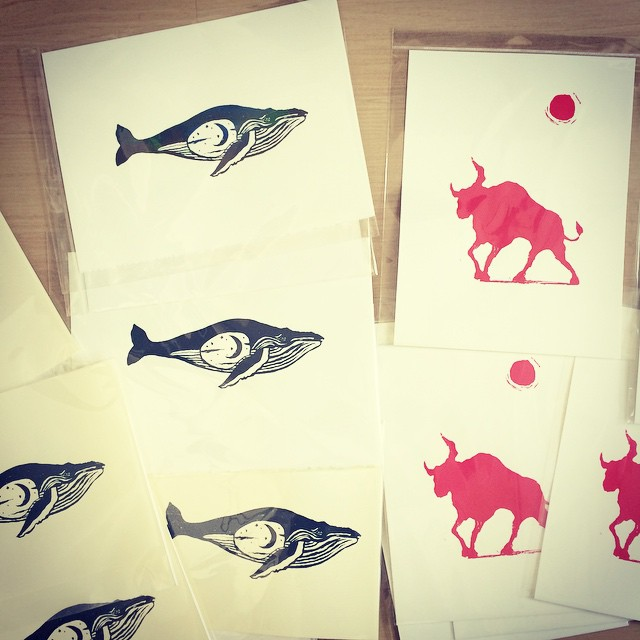 My bulls and whales ready for the market tomorrow. #PortlandSaturdayMarket #PSM #Portland #silkscreenprinting #art