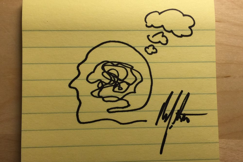 doodle of thought, a post-it note
