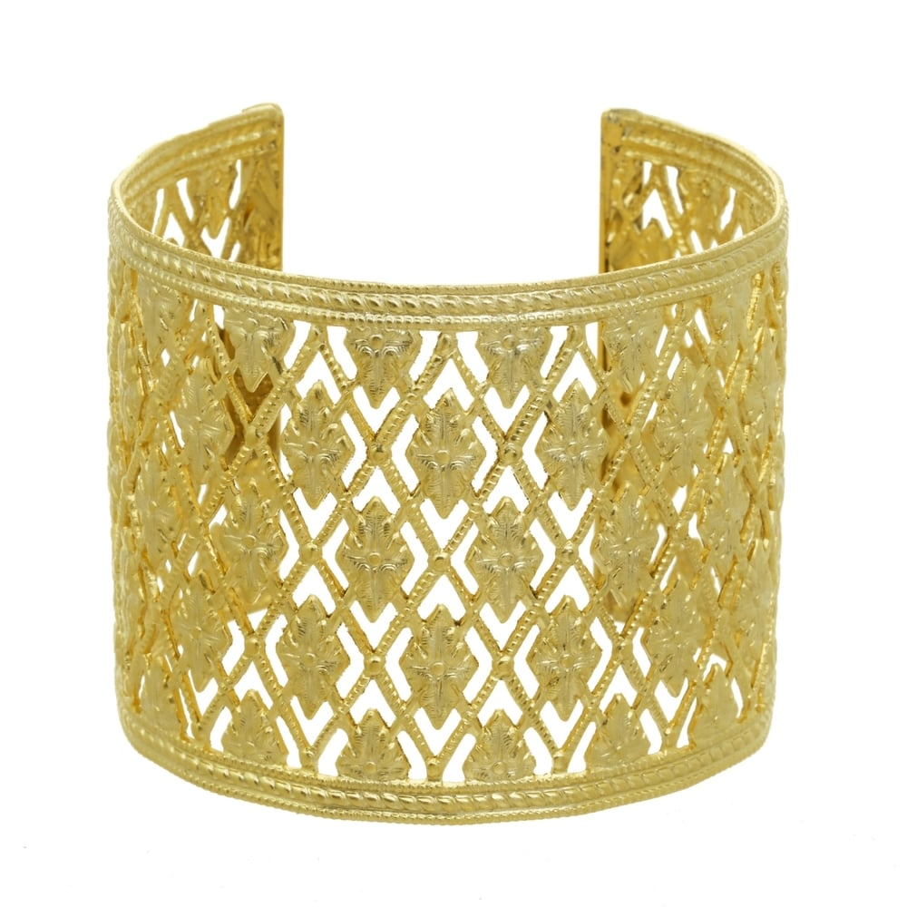 A.V. Max Wide Diamond-Cut Cuff Bracelet, Golden