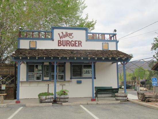 - Walker Burger is a favorite stop along 395, and is not to be missed! Enjoy a delicious burger in the beautiful outdoor patio and gardens surrounded by the scenery of the charming Eastern Sierra just steps from the Andruss Motel. Follow up your classic burger and fries with a delicious milk shake or chocolate dipped cone.Walker Burger is closed during the winter.Distance: 161 feet