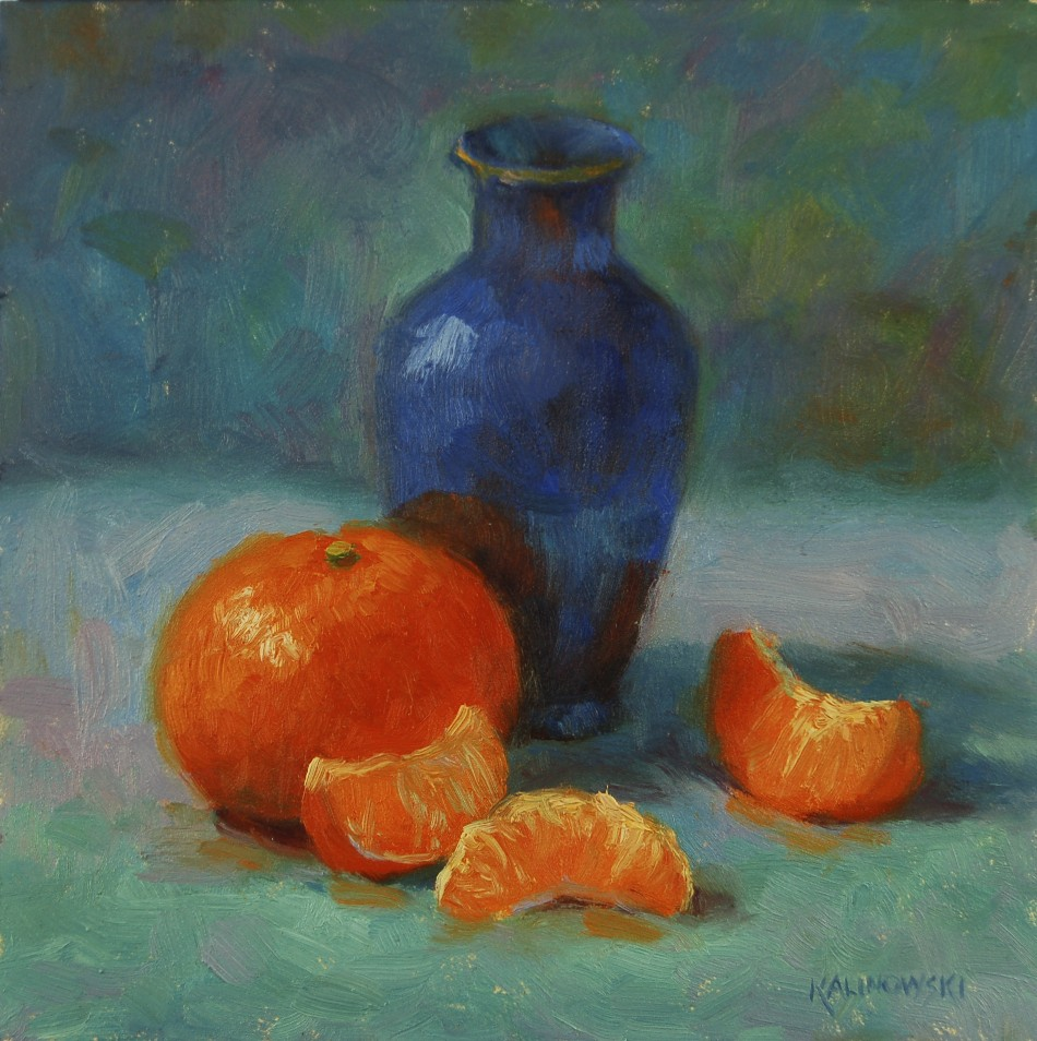 Clementine and Blue Vase, oil, 6x6.jpg