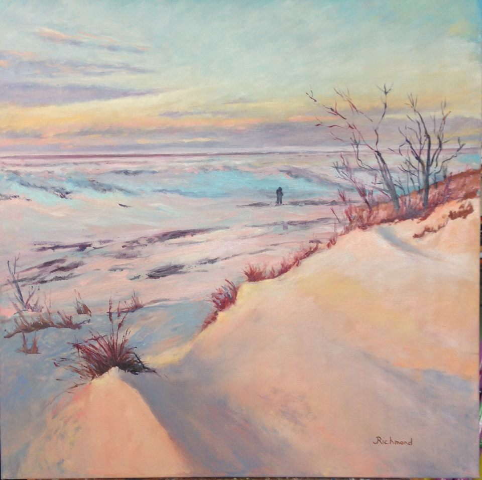 """Winter Sunset"" - Lake Michigan 30x30 oil"