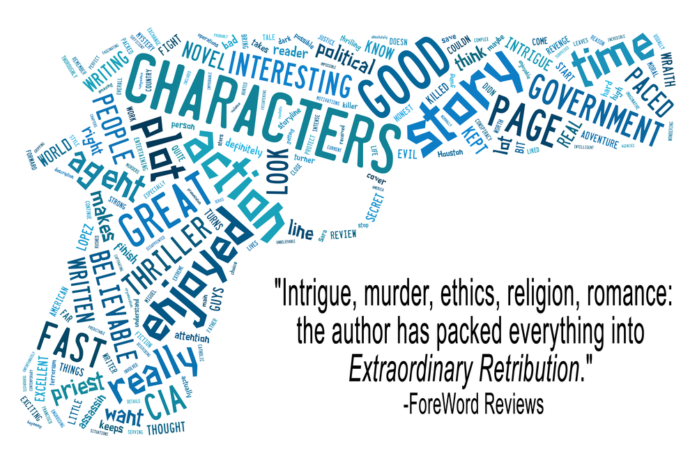 """Word cloud"" of the first 200 reviews of Extraordinary Retribution on Amazon (as present April 2015). Certain words that dominated the image but which were not very informative  (e.g., ""book"", the author's name, etc) were removed."