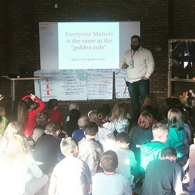 """This month we are focusing on the E in weCODE! E is for Everyone Matters! Mr. Juhlke and Ms. Dandelet led the school assembly and activities focused on treating others the way we want to be treated!! LUA students gave shout-outs to recognize other students who displayed """"Everyone Matters"""" actions!! #weCODE #everyonemattersatLUA #LUAcommunity"""