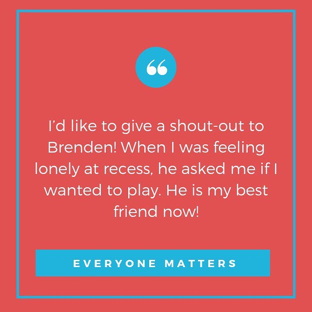 """When kids are given an opportunity to share examples of """"Everybody Matters"""" in the form of a shout-out and in front of the school - kindness becomes contagious! Check out this quote from an LUA 3rd grader! #weCODE #everyonemattersatlua"""