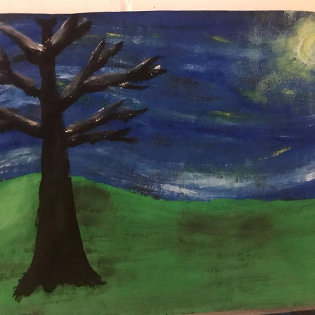 """Enjoy our 4th Grade """"Starry Night"""" art gallery! Thank you Mr. Giese's class for this talent display! @_artinaction_ #weCODE #artinaction"""