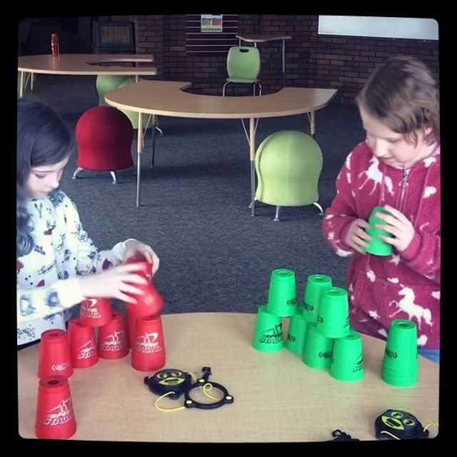 """Celebrating positive expectations with a round of """"Brain Games with Ms. Dandelet."""" These girls chose to play Speed Stackers, Swish, and Quick Cups - which resulted in 30 minutes of healthy competition, laughs, and many personal bests! #weCODE #PBIS #LUAcommunity"""
