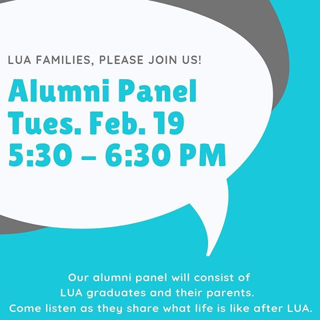 All LUA families are invited! Our graduates attend a variety of high schools - charter, private, and large district schools. Come support them and hear what they have to say. There will be Q and A time at the end! #weCODE #LUAcommunity #LUAvoices