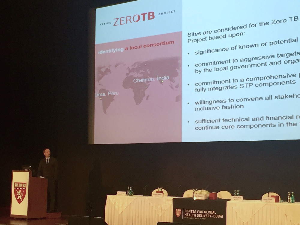 AA&D Executive Director Tom Nicholson speaks at the Launch of the Center for Global Health Delivery-Dubai, detailing how the Zero TB Cities Project functions. OCtober 2015