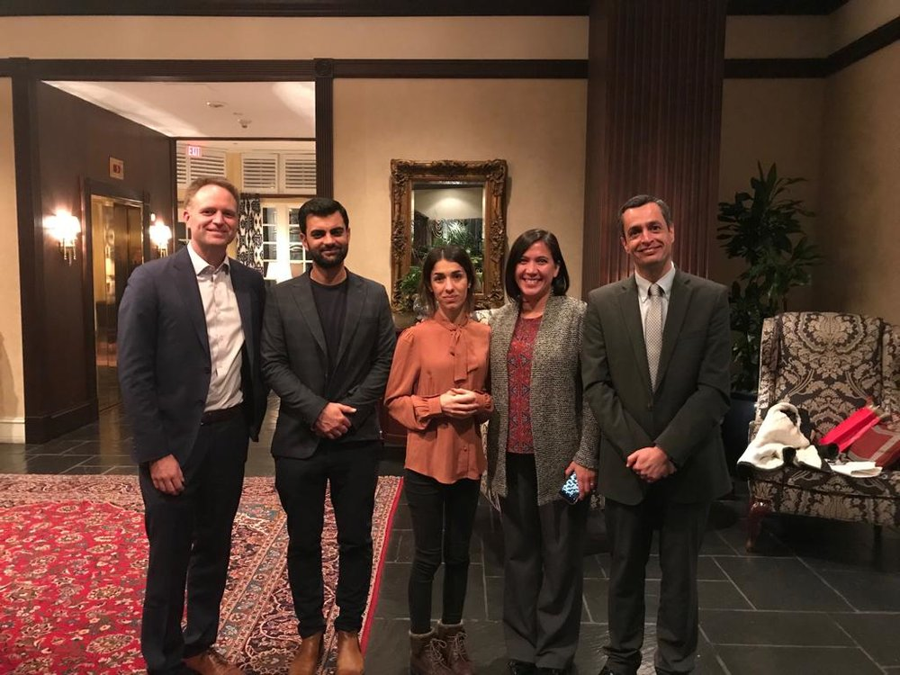AA&D Executive Director and research partners met with Nobel Laureate Nadia Murad and fellow activist Abid Shamdeen on October 29.