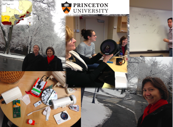 Great visit to Princeton to meet our team there (Kelly Caylor, Lyndon Estes, Justin Sheffield, Drew Gower, Stephanie Debats, Di Tian and others). Got to play with new technology and discuss new integrated research ideas. Our IU travel group consisted of Beth Plale, Tom Evans, Inna Kouper, Kurt Waldman, and Shaz.