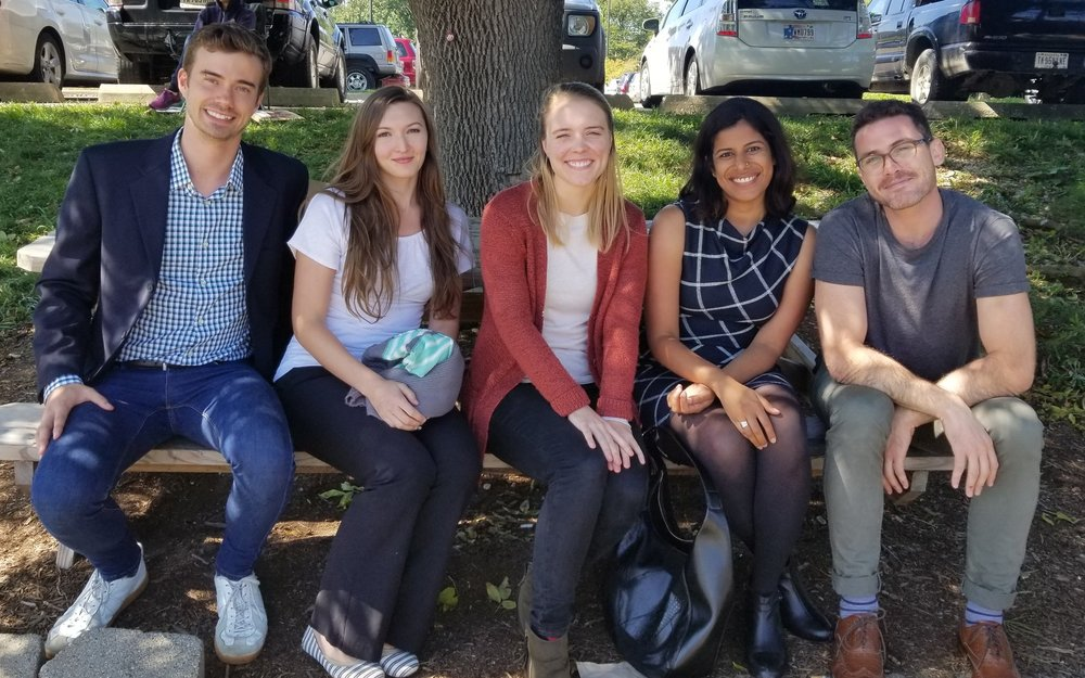 Bronson Bast, Deidra Miniard, Eleanor Bower, Shahzeen Attari, and Tyler Marghetis on a sunny day. (Photo credit: the wonderful  Ezra Markowitz )