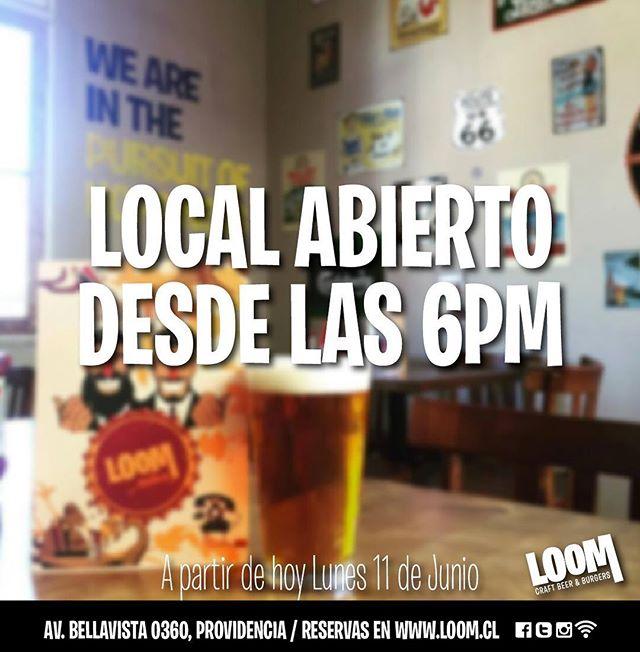 Desde hoy y por toda la semana, nuestro local abrirá de 6pm a 2am!  Los esperamos 🤘 #Loombar  #craftbeer #sport #sportbar #ufc #fight #bellavista #bar #burgers #fingerfood #nba #loom #cervezaloom #chile #instasantiago  #nfl #Santiago #hamburguesa #cerveza #Loombar