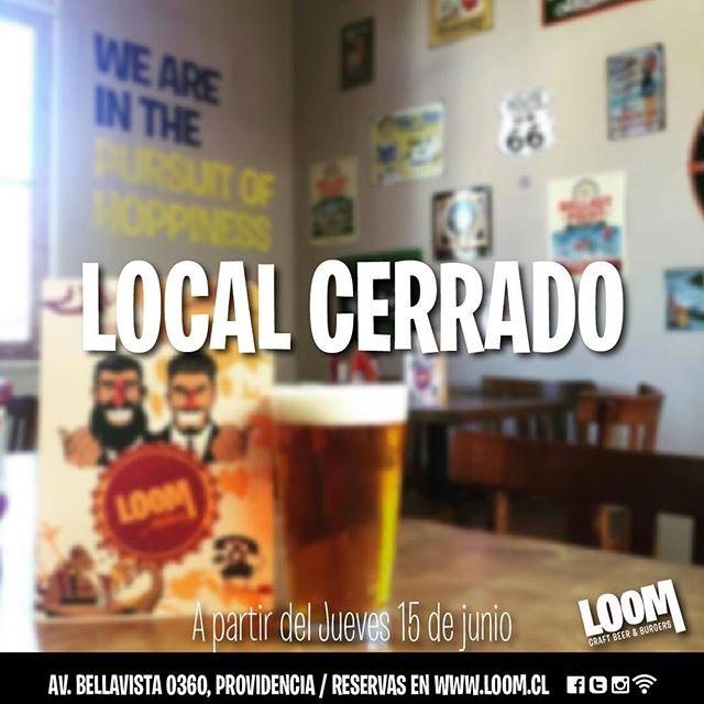 Recuerda que desde hoy nuestro local de Bellavista permanecerá cerrado! #loombar  #Beer #craftbeer #sport #sportbar #ufc #fight #bellavista #bar #burgers #fingerfood #nba #loom #cervezaloom #chile #instasantiago  #nfl #Santiago #hamburguesa #cerveza #Loombar