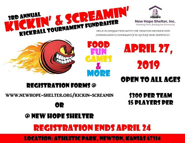 Get your team together and join the fun at New Hope's 3rd Annual Kickin' & Screamin' Kickball Tournament! This year we will be at Newton Athletic Park! This will be held in conjuction with the Newton Recreation Commissions Community Play Day and Hopefest. So, come and play!!! #newhopeshelter #newtonkansas #mcphersoncounty #marioncounty #communityplayday
