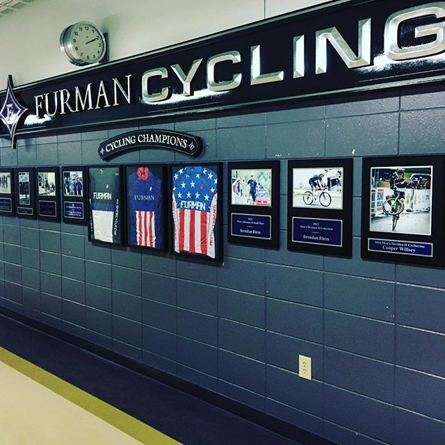 Only a week left until the first day of classes start at Furman, and we couldn't be more excited for the new Furman Cycling display that was built this summer in the Physical Activities Center! (Thank you @furmanuniversity!) Come check it out if you're on campus!