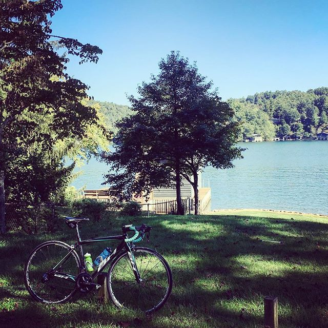 "Beautiful day for an 85 mile ""tour de lakes"" as we wound our way around Lake Lanier, Lake Summit, and Lake Lure. We had a big five hour day exploring all the dirt roads up here in the mountains!"