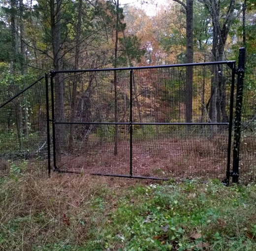 Custom heavy duty gate for logging access. Gate mounted on 3.5 inch schedule 40 post with 1 5/8 inch gate frame pipe.