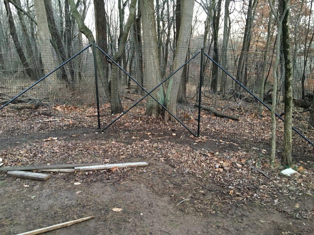 Deer Fencing installed using four brace pipe to ensure fence doesn't pull in. Deer fencing installed in Northeastern Philadelphia.